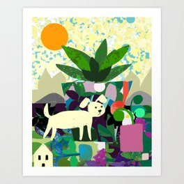 Collage With Dog and Plant Art Print
