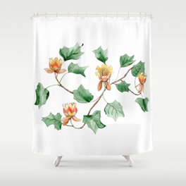 Botanical watercolor illustration of a Tulip tree. Shower Curtain