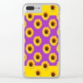 Golden & Purple Yellow Sunflowers Pattern Art Clear iPhone Case