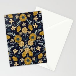Navy Blue, Turquoise, Cream & Mustard Yellow Dark Floral Pattern Stationery Cards