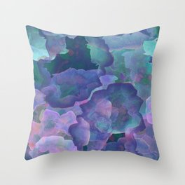 Blue and teal abstract watercolor Throw Pillow