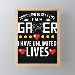 Gamer Unlimited Lives Framed Mini Art Print