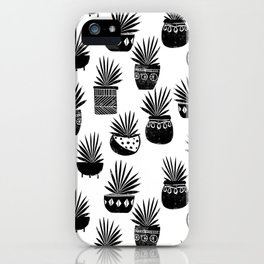 houseplant linocut aloe vera art botanical black and white lino printmaking art minimal modern iPhone Case