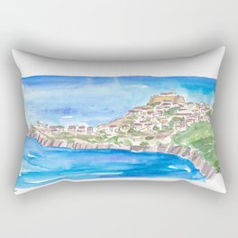 Capraia Island In The Blue With Fortress Rectangular Pillow
