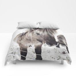 snowy Icelandic horse bw Comforters