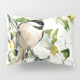 chickadee and dogwood, chickadee art design floral Pillow Sham