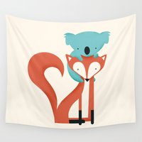 fox Wall Tapestries featuring Fox & Koala by Jay Fleck