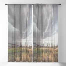 Western Life - Barbed Wire and Storm on the Ranch Sheer Curtain