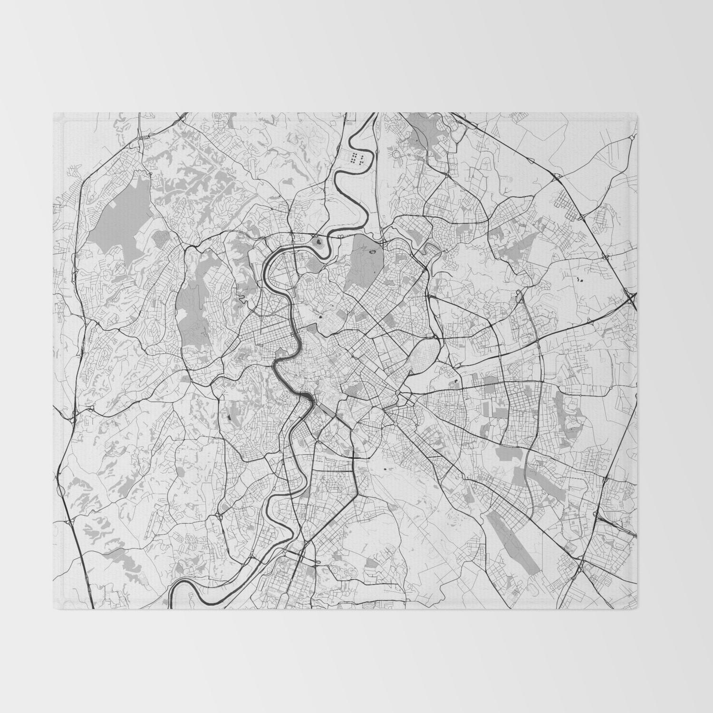 Rome City Map Gray Throw Blanket