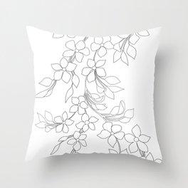 Minimal Wild Roses Line Art Throw Pillow