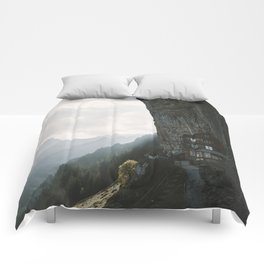 Mountain Cabin - Landscape Photography Comforters