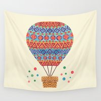 hot air balloon Wall Tapestries featuring Hot Air Balloon by haidishabrina