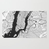 new york map Area & Throw Rugs featuring New York Map Gray by City Art Posters
