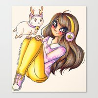 bee and puppycat Canvas Prints featuring Bee&PuppyCat by CreativeCarrah