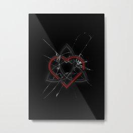 Celtic Knotwork Valentine Heart Broken Glass Texture Metal Print