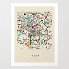 Colorful City Maps: Raleigh, North Carolina Art Print