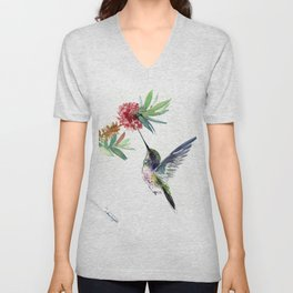 Hummingbird. elegant bird and flowers, minimalist bird art beautiful bird painting Unisex V-Neck