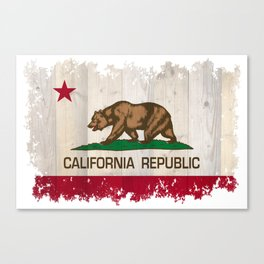 California Republic flag on woodgrain   Canvas Print