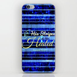 BY HIS STRIPES Colorful Blue Stripes Bible Scripture Fine Art Pattern Typography God Jesus Faith iPhone Skin