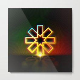 Neon Geometric Glyph Mandala Sigil Rune Red Yellow and Green - 204 Metal Print