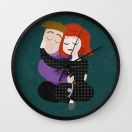 Sleepover hug Wall Clock