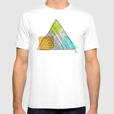 Triangle Doodle White SMALL Mens Fitted Tee