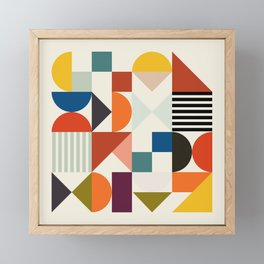 mid century retro shapes geometric Framed Mini Art Print