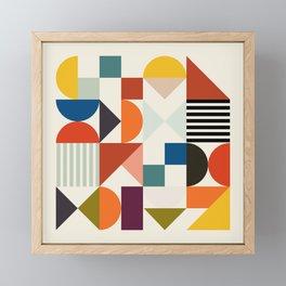mid century retro shapes geometric Framed Mini Art Print