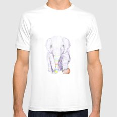 Striped Elephant Illustration Mens Fitted Tee White MEDIUM