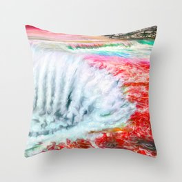 Ruby waterfall Throw Pillow