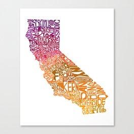 Typographic California - Autumn Canvas Print