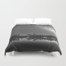 Summer Stars Black and White - Galaxy Mountain Reflection Duvet Cover