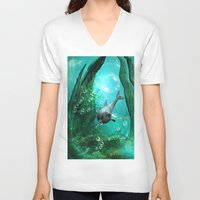 swimming V-neck T-shirts featuring Swimming dolphin by nicky2342