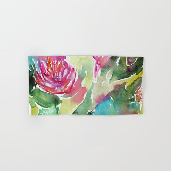 Floral abstraction || watercolor Hand & Bath Towel