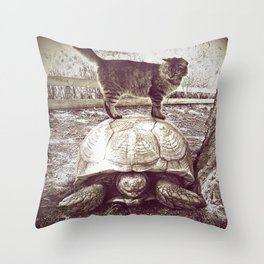 Cat Standing on a Sulcata Tortoise Throw Pillow