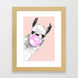 Bubble Gum Black and White Sneaky Llama in Pink Framed Art Print