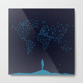 Stars World Map - Woman Metal Print