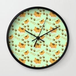 Cute Foxy on green Wall Clock