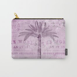 Pink Vintage Palm Tree And Travel Typography Art Carry-All Pouch