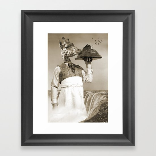 giraffe waiter  Framed Art Print