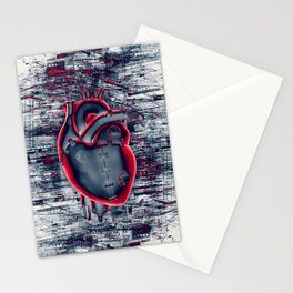 Gamer Heart BLUE CRIMSON / 3D render of mechanical heart Stationery Cards