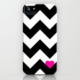 Heart & Chevron - Black/Pink iPhone Case