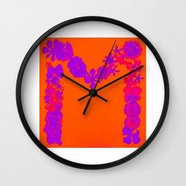 M Flowers orange Wall Clock