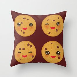 Kawaii Chocolate chip cookie Throw Pillow