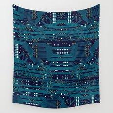 Dark Circuit Board Wall Tapestry