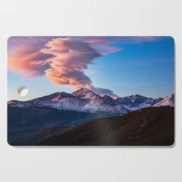 Fire on the Mountain - Sunrise Illuminates Cloud Over Longs Peak in Colorado Cutting Board
