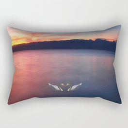 Sunset and swans in Ohrid  Lake Rectangular Pillow
