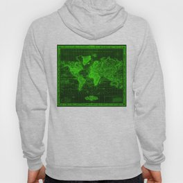 Vintage Map of The World (1833) Black & Green  Hoody