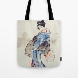 Japanese woman in kimono - Hokusai Tote Bag