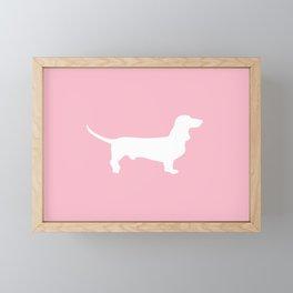 Pink Dachshund Silhouette Pattern Framed Mini Art Print